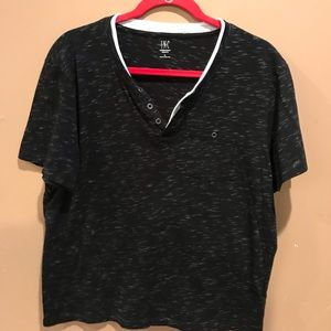 Black speckled tee shirt with buttons